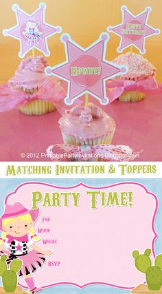 Free Printable Cowgirl Party Picks and Matching Invitations