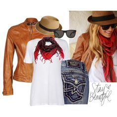 Leather, white T, red scarf
