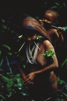 Yanomami Indian mother and child