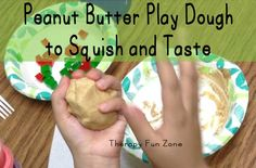 Peanut Butter Play Dough with three simple ingredients: Peanut butter, Marshmallow fluff, Powdered sugar! **Pinned by pinterest.com/wonderbabyorg