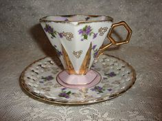 Vtg Royal Sealy Japan Porcelain Iridescent Footed Teacup Reticulated Plate