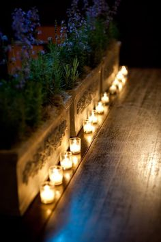 candles and flower boxes