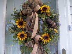Primitive ~Sunflowers Bumblebee ~Door~ Wreath~Double Bow~Burlap