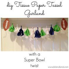 diy Tissue Paper Tassel Garland...with a Super Bowl twist {Dolen Diaries}