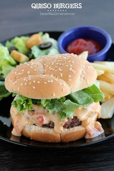 Queso Burgers | DessertNowDinnerLater.com #hamburgers #burgers #mexican #queso #grilled #bbq #lunch #dinner