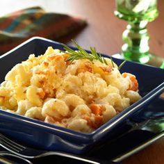 Oregon: Caramelized Sweet Potato, Garlic, and Rosemary Macaroni and Cheese (pictured) Jumbo Shell Pasta Stuffed with Baby White Cheddar Chicken Macaroni Cornbread-Topped Apple Macaroni and Cheese