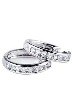 Majesty Diamonds 0.40 ct Diamond Hoop Earrings In 14k White Gold