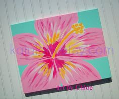 Hawaiian Hibiscus Flower Nursery Art for Ocean Beach Cottage - 16 x 20