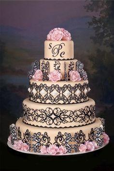 Pink & Black Wedding Cake black cake, lace cakes, decorate cakes, black weddings, beauti cake, silhouett cake, cricut cake, wedding cakes, fondant cakes