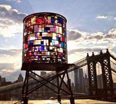 tom fruin, brooklyn bridge, brooklyn art, glowing objects, artist tom, stain glass, place, water tower, stained glass
