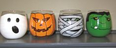 Halloween wine glass/candle holder set of 4 by lgrn22 on Etsy, $45.00