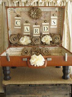 Vintage Suitcase Wedding Card Holder Shabby Chic Wedding Rustic Country Wedding on Etsy, $120.00