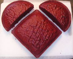 No heart cake pan - no problem.  Use a square and a round to get a heart shape.