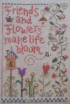 Gail Bussi FRIENDS & FLOWERS SAMPLER  by ThePamperedStitcher