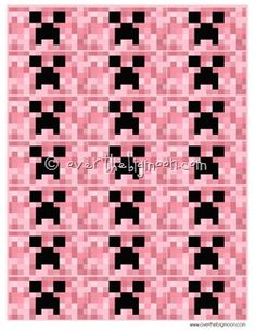FOR THE GALS: Free Printable Minecraft Valentines in Pink   All New Sayings!