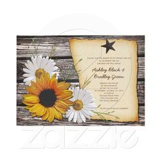 Rustic sunflower and daisy wedding invitation. Good for a barn wedding or a country wedding.