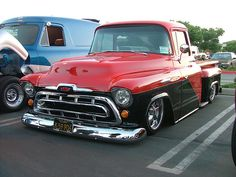 57 Chevy PU Red and Black TwoTone.
