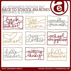 Back To School 4x6 Sentiment Boxes Brushes and Stamps - Photoshop Brushes