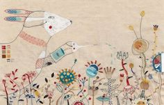Annalisa Bollini...combines painting and embroidery.