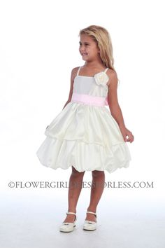 CA_D578IV - Girls Dress Style 578- White or Ivory Dress with Choice of 200 Sashes and Flowers - Pick-up Dresses - Flower Girl Dress For Less