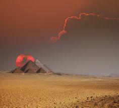pyramids of egypt at sunset, cairo