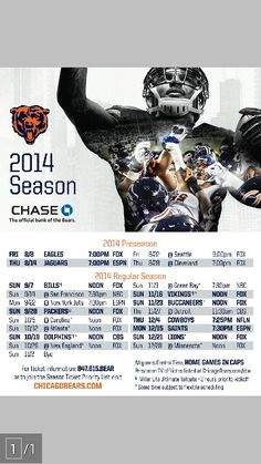Chicago Bears 2014 schedule. Bear Down!