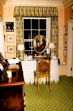 "Diana's dressing room at Kensington Palace off her bedroom.  The ""inner sanctum"" very few people ever saw.  This is where she would sit in her bathrobe and have her hair blow dried."