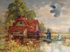 Artwork by David Irvine: he paints random characters onto old thrift store paintings