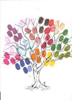 Cute finger print family tree idea.