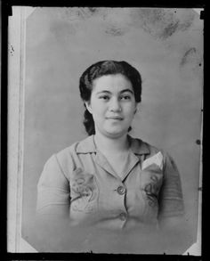 Portrait of a young woman [from Apia, Samoa?]. Whites Aviation Ltd :Photographs. Ref: WA-04511-G. Alexander Turnbull Library, Wellington, Ne...