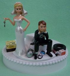 Wedding Cake Topper - Auto Car Mechanic Grease Monkey Racing Key Themed