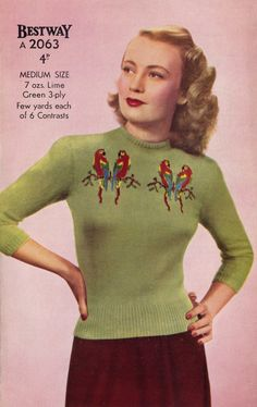 A wonderfully fun 1940s parrot patterned sweater. #vintage #knits #1940s #fashion
