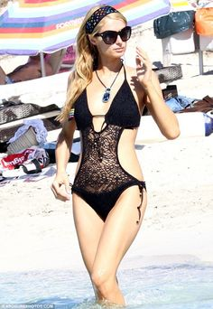 Paris Hilton in a sexy black #crochet monokini.