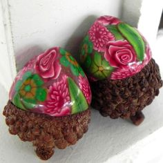 Christmas Acorn Decorations Red and Green Flowers  by LavaGifts, $7.00
