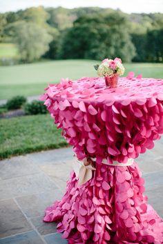 Pink ruffled table covering -  Photography: Morrissey Photo - morrisseyphoto.net Read More: http://www.stylemepretty.com/2014/05/07/elegant-philadelphia-country-club-wedding/