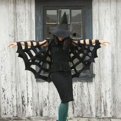 cape easi, craft, nosew halloween, halloween spiderweb, easi halloween, halloween costumes, capes, spiderweb cape, evenings