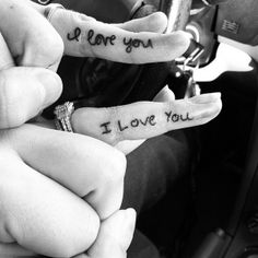 """""""as an extra - I love you tattoos! Her writing on his ring ringer, his writing on hers!"""" Okay I like this idea, but if we both like Star Wars then it could be """"I love you """" on the girls finger, then """"I know"""" on the boys. Also, I think that the tatoos should be smaller tattoo ideas, weddings, ring finger, wedding tattoos, a tattoo, handwriting, couple tattoos, ring ringer, white ink"""