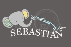 Elephant and Name Wall Decal - Jungle Theme Vinyl - Children's And Infant's Decoration- Stickers. $40.00, via Etsy.