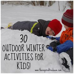 A awesome list of 30 outdoor winter activities for kids from occupational and physical therapists.  There is no better season for outdoor gross motor, fine motor and sensory play!