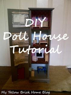 DIY Doll house floors, cupboards, small bathrooms, bricks, homes, blog, old cabinets, doll houses, yellow brick