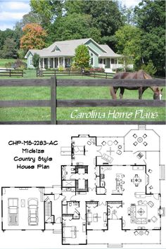 Plan MS-2283-AC has 3 bedrooms, 2 baths and 2283 square feet all on one level, originally built in North Carolina as a horse farm.