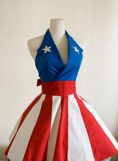 Made to Order- Captain America USO Girl Apron. $79.00, via Etsy.