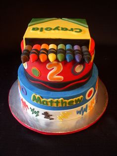 This crayon-themed cake is perfect for an art-loving kid's party! #crayola #cakeideas #artparty