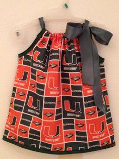 Miami Hurricanes Pillowcase Dress by KimberlyCustomCrafts on Etsy, $25.00