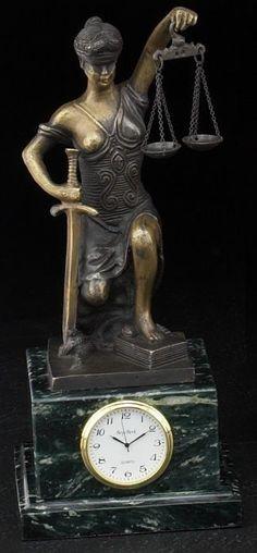 Kneeling Lady Justice Bronze Sculpture Desk Clock with Solid Wood Case T.P.
