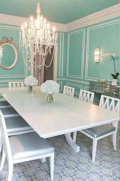 wall colors, dining rooms, dine room, blue walls, dream, tiffany blue, breakfast at tiffanys, box, blues