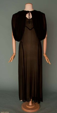 Bias cut evening gown with zig zag bodice and bolero, silk chiffon.