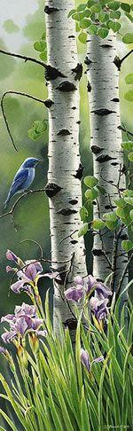 White Birches and a Blue Bird