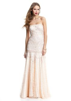 SUE WONG Strapless Embellished Gown