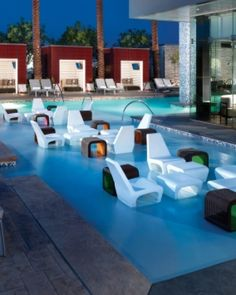 Lounge in this unique & contemporary pool at Palms Place in Las Vegas.